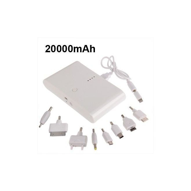 Batterie de secours externe portable universelle 20000 mah Blanc