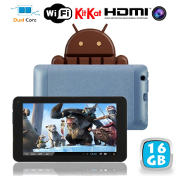 Tablette tactile Android 4.4 KitKat 7 pouces Dual Core Bleu 16 Go