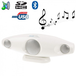 Enceinte Bluetooth portable design Jack USB carte SD blanc