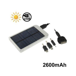Batterie solaire universelle iPhone smartphone 2600 mah argent