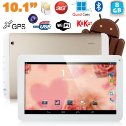 Tablette tactile 10 pouces 3G Double SIM Quad Core WiFi GPS 16Go Or