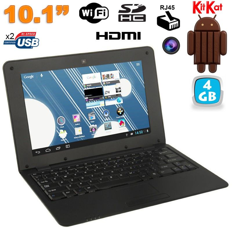 mini pc android ultra portable netbook 10 pouces wifi 4 go noir. Black Bedroom Furniture Sets. Home Design Ideas