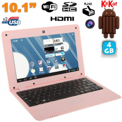 Mini PC Android ultra portable netbook 10 pouces WiFi 4 Go Rose