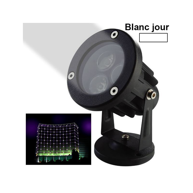 projecteur ext rieur led spot lumineux blanc jour jardin 3w 240lm. Black Bedroom Furniture Sets. Home Design Ideas