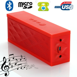 Mini enceinte Bluetooth portable stereo smartphone tablette Rouge - www.yonis-shop.com