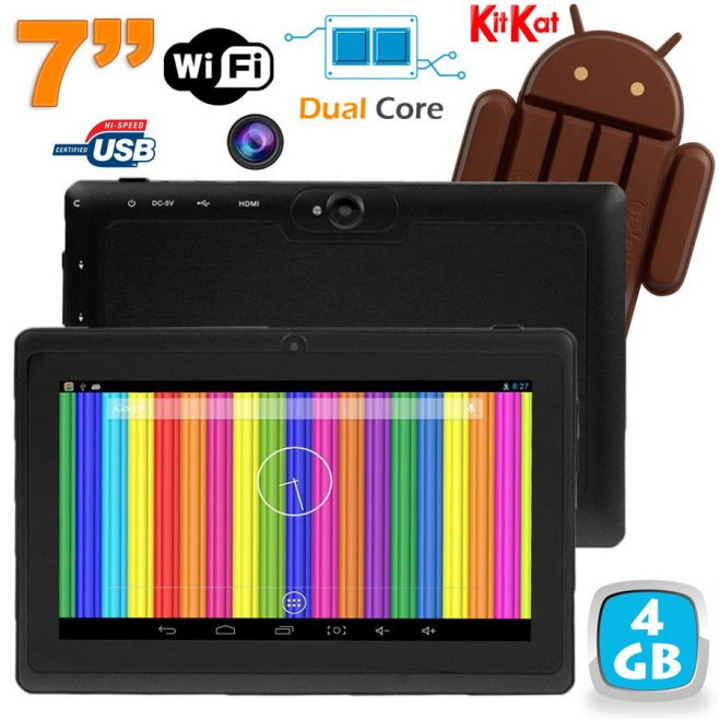 Tablette tactile Android 4.4 KitKat 7 pouces Dual Core 4Go Noir - www.yonis-shop.com