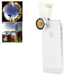Objectif universel appareil photo smartphone grand angle 180° macro blanc