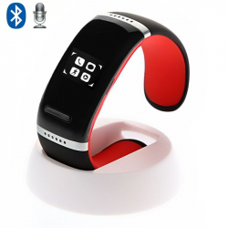 Bracelet connecté Bluetooth LED montre sportive smartphone rouge noir