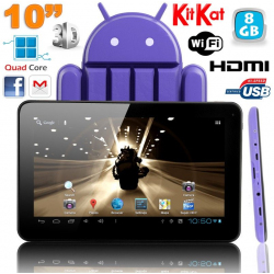 Tablette tactile 10 pouces Android 4.4 KitKat Quad Core 8 Go Violet - www.yonis-shop.com
