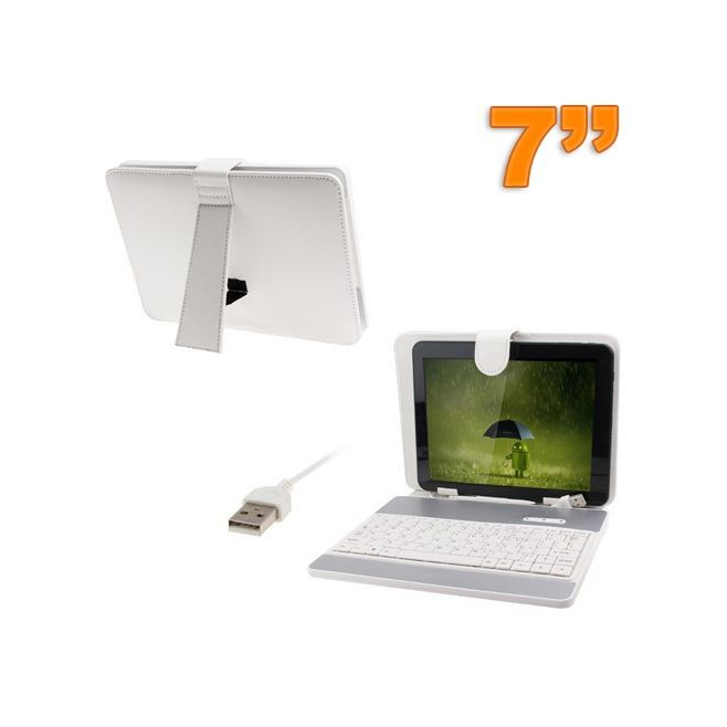 Housse clavier universelle tablette tactile 7 pouces USB Blanc - www.yonis-shop.com