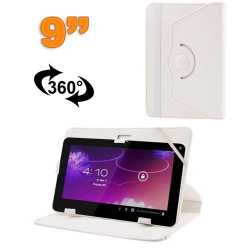 Housse universelle tablette 9 pouces protection support 360° Blanc