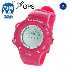 Montre GPS Waterproof boussole thermomètre mémoire 20 positions Rose - www.yonis-shop.com