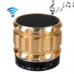 Mini Enceinte bluetooth kit mains libres micro SD USB métal Or - www.yonis-shop.com