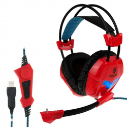 Casque micro PC gaming microphone ajustable USB gamer rouge - www.yonis-shop.com