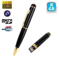 Stylo camera espion Full HD 1080p mini appareil photo Micro SD 8Go