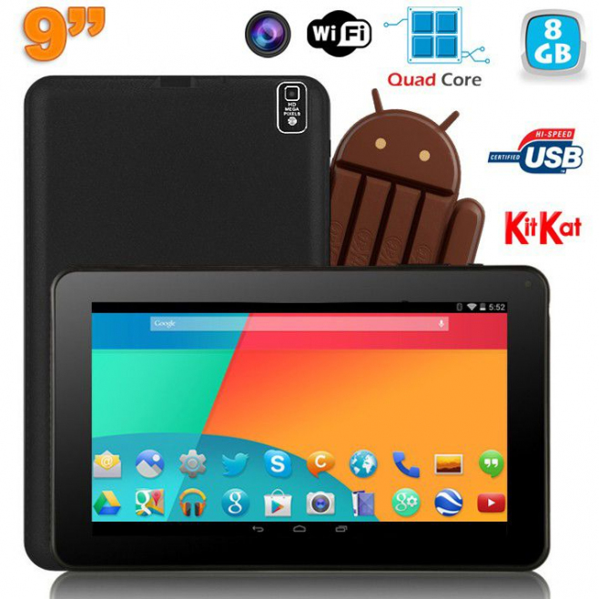 Tablette tactile 9 pouces Android 4.4 Bluetooth Quad Core 8Go Noir - www.yonis-shop.com