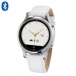 Montre connectée smartwatch iOS et Android bracelet cuir Blanc - www.yonis-shop.com