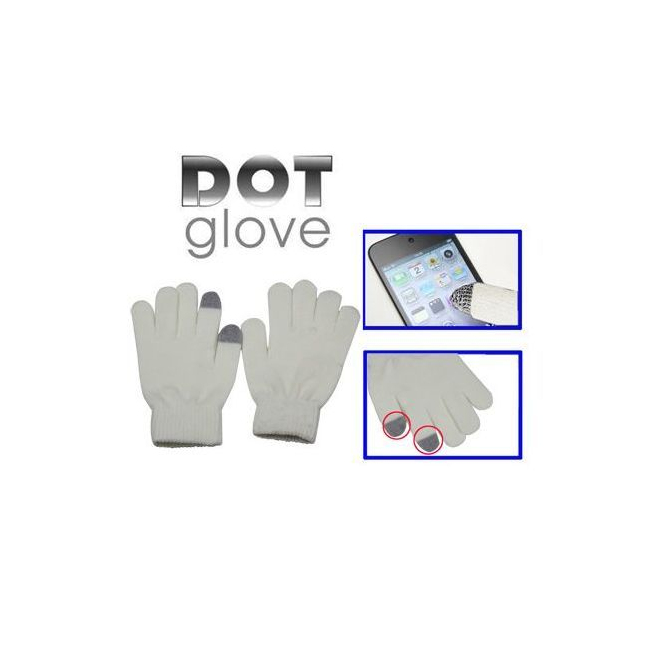 gants tactiles pour smartphones tablettes blanc 2 doigts. Black Bedroom Furniture Sets. Home Design Ideas