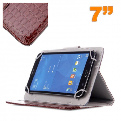 Housse universelle simili peau crocodile tablette 7 pouces marron - www.yonis-shop.com
