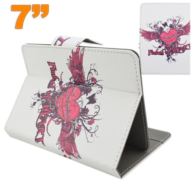 housse tablette 7 pouces universelle support motif coeur graffiti