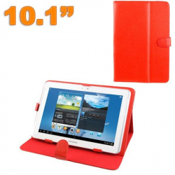 Housse tablette 10.1 pouces protection universelle simili cuir Rouge