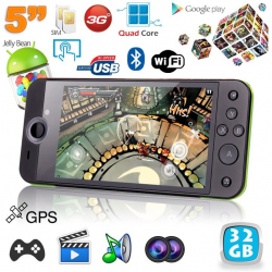 Mini console portable 3G quad core 5 pouces gamepad Android 4.2 20Go