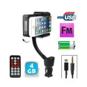 Transmetteur FM iPhone 5 kit mains libres support voiture Micro SD 4Go - www.yonis-shop.com