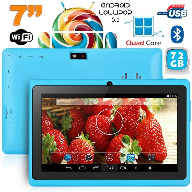 Tablette 7 pouces Bluetooth Quad Core Android 5.1 Lollipop 72Go Bleu