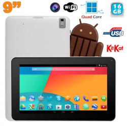 Tablette tactile 9 pouces Android 4.4 Bluetooth Quad Core 16Go Blanc - www.yonis-shop.com
