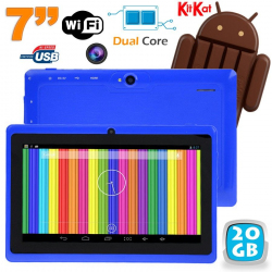 Tablette tactile Android 4.4 KitKat 7 pouces Dual Core 20 Go Bleu - www.yonis-shop.com