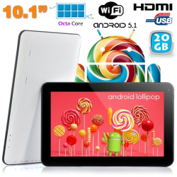 Tablette tactile 10 pouces Android Lollipop 5.1 Octa Core 20Go Blanc - www.yonis-shop.com