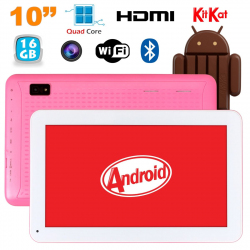 Tablette 10 pouces Android KitKat Bluetooth Quad Core 16Go Rose - www.yonis-shop.com