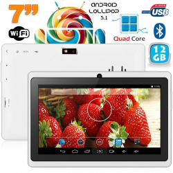 Tablette 7 pouces bluetooth Quad Core Android 4.4 KitKat 8 Go Blanc - www.yonis-shop.com
