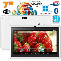 Tablette 7 pouces bluetooth Quad Core Android 4.4 KitKat 12 Go Blanc - www.yonis-shop.com