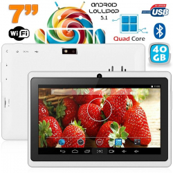 Tablette 7 pouces bluetooth Quad Core Android 4.4 KitKat 36 Go Blanc - www.yonis-shop.com