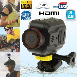 Mini Caméra sportive Full HD waterproof Grand angle étanche HDMI 8 Go - www.yonis-shop.com