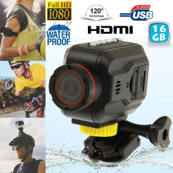 Mini Caméra sportive Full HD waterproof Grand angle étanche HDMI 16 Go - www.yonis-shop.com