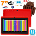 Tablette tactile Android 4.4 KitKat 7 pouces Dual Core 36 Go Rouge - www.yonis-shop.com