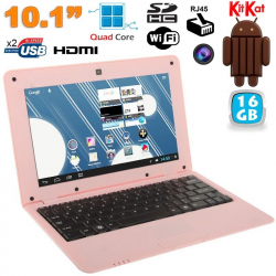 Mini PC Android 4.4 Netbook Ultra portable 10 pouces WiFi 16Go Rose - www.yonis-shop.com