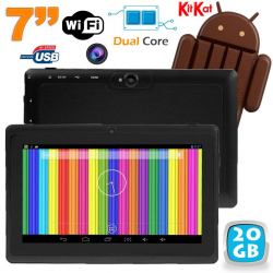 Tablette tactile Android 4.4 KitKat 7 pouces Dual Core 20 Go Noir - www.yonis-shop.com