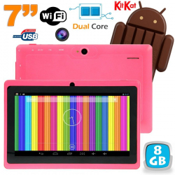Tablette tactile Android 4.4 KitKat 7 pouces Dual Core 8 Go Rose - www.yonis-shop.com