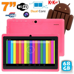 Tablette tactile Android 4.4 KitKat 7 pouces Dual Core 68 Go Rose - www.yonis-shop.com