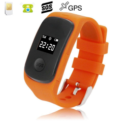 Montre GPS secours enfant ecran LED bouton SOS micro espion Orange - www.yonis-shop.com