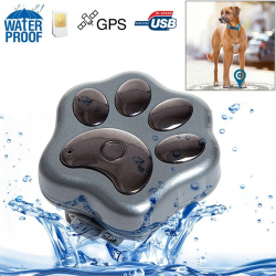 Mini traceur GPS chien chat waterproof collier micro espion GSM Gris - www.yonis-shop.com