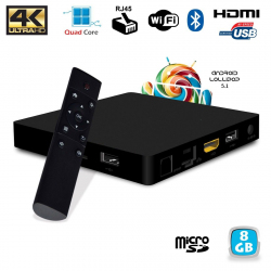 Mini PC Android TV BOX 4K Quad Core Lollipop 5.1 Bluetooth WiFi 8Go - www.yonis-shop.com