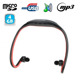 Casque MP3 sport lecteur audio sans fil running vélo rouge 4 Go - www.yonis-shop.com