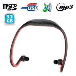 Casque MP3 sport lecteur audio sans fil running vélo rouge 32 Go - www.yonis-shop.com