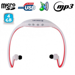 Casque sport sans fil lecteur MP3 audio Running vélo Rouge 4 Go - www.yonis-shop.com