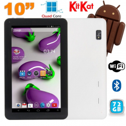 Tablette 10 pouces Quad Core Android 4.4 WiFi Bluetooth 72Go Blanc - www.yonis-shop.com