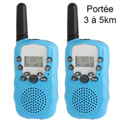 Talkie walkie 22 canaux push to talk écran LCD portée 3 à 5 km Bleu - www.yonis-shop.com